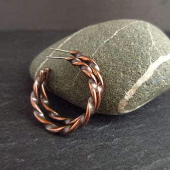 Twisted Copper Hoop Earrings With Post Fitting