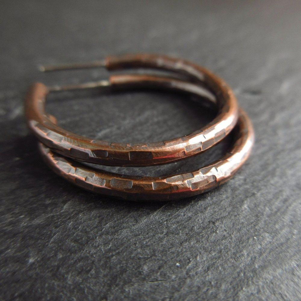 Hammered Copper Hoop Earrings with Posts
