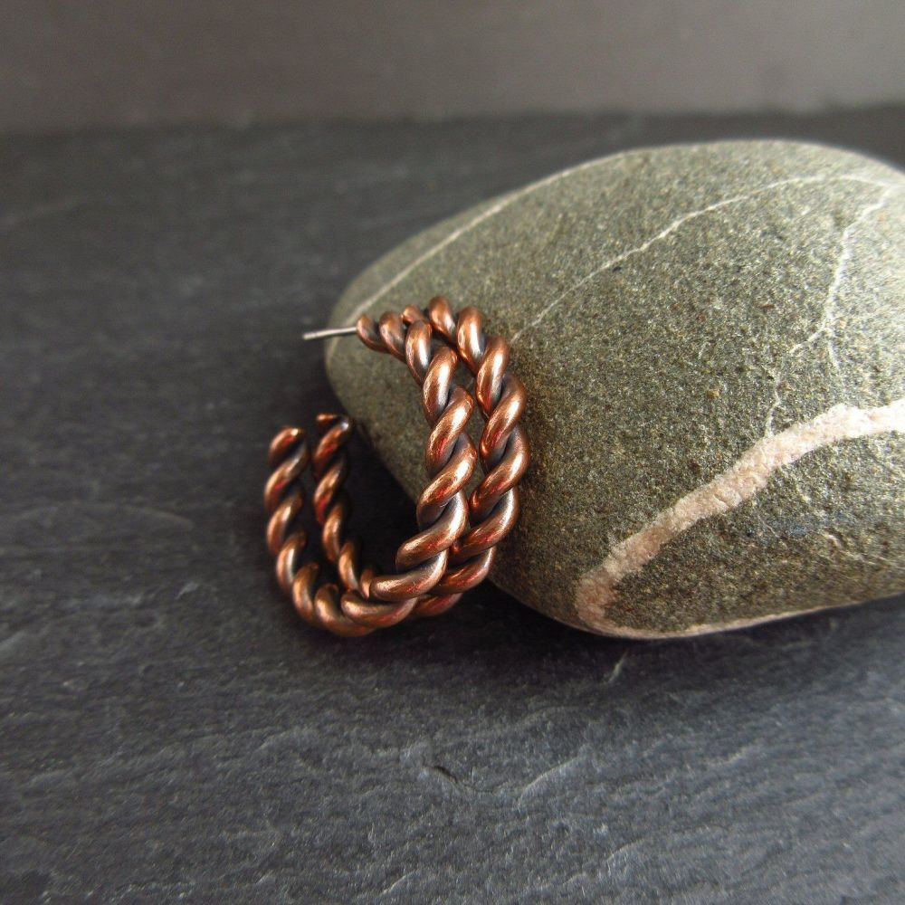 Copper Hoop Earrings - Barley Twist