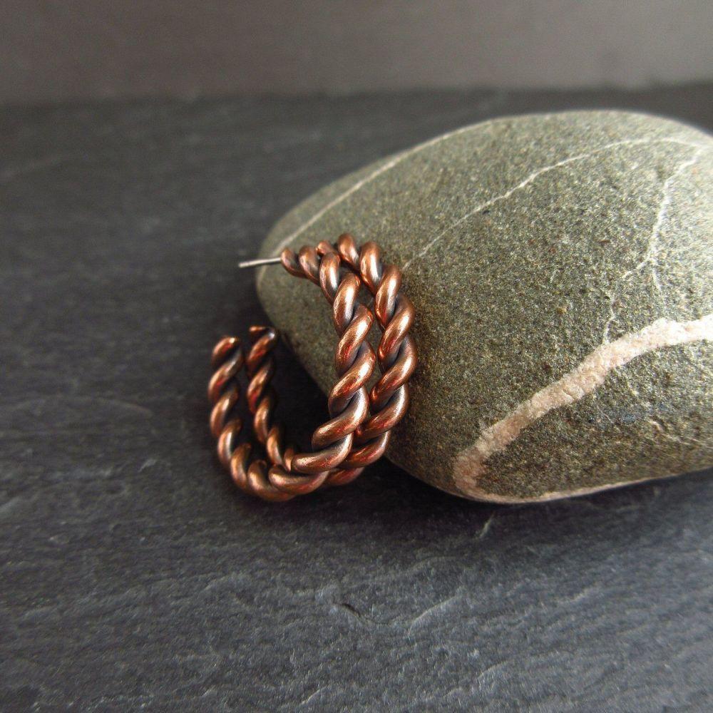 Copper Hoop Earrings - Barley Twist