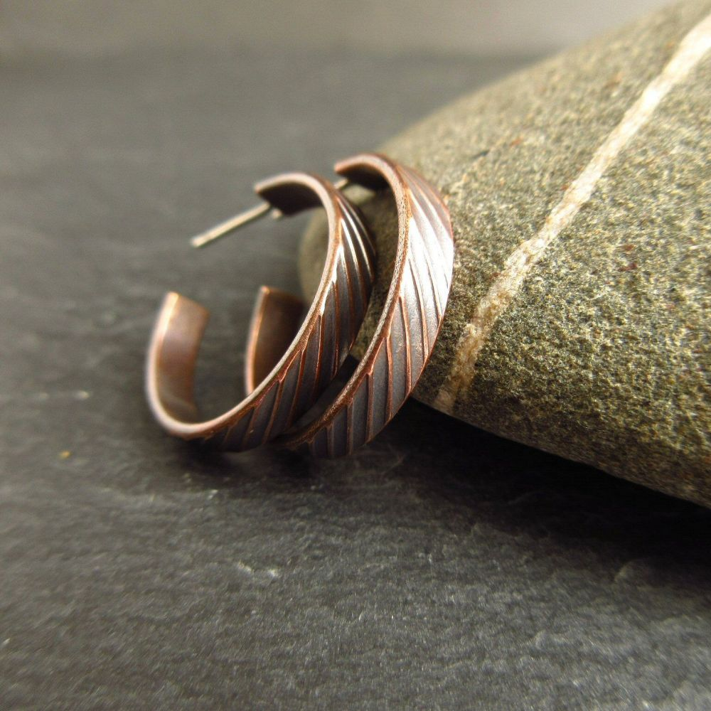 Bronze Hoop Earrings with Stripe Design