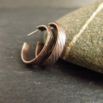 Bronze Hoop Earrings with Stripe Design