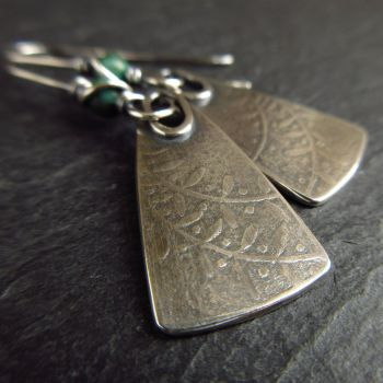 Sterling Silver Leaf Earrings with Turquoise Jasper