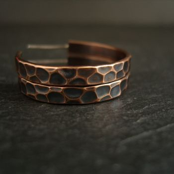 Bronze Hoop Earrings with Cell Design