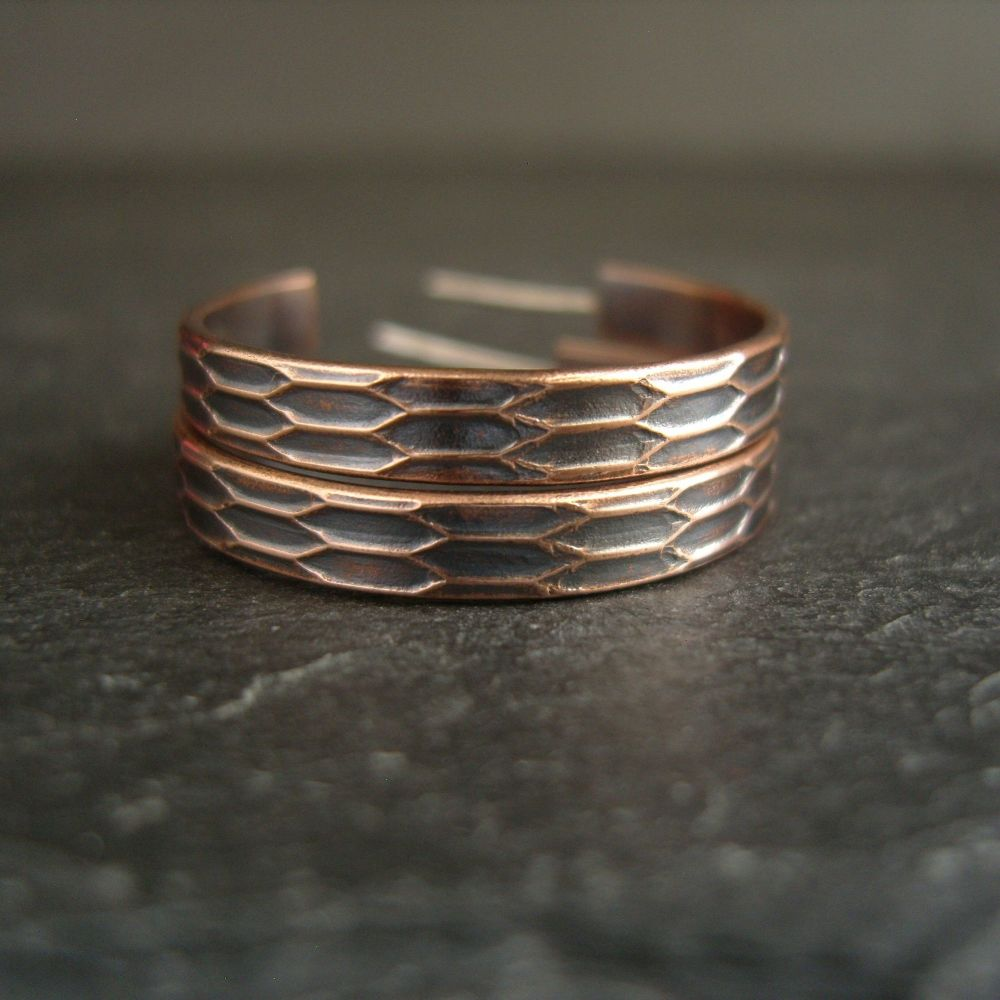 Bronze Hoop Earrings with Geometric Design
