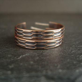 Bronze Hoop Earrings with Geometric Design