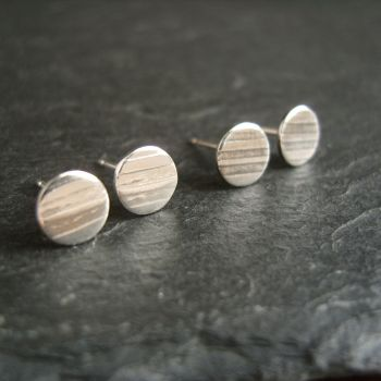Sterling Silver Stud Earrings with Stripes Bright or Oxidized {L}