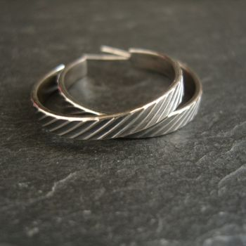 Sterling Silver Open Hoop Earrings with Post Fittings and Stripe Pattern