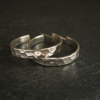 Sterling Silver Hoop Earrings with Posts - Cell Pattern