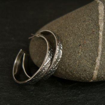 Sterling Silver Hoop Earrings with Embossed Pattern