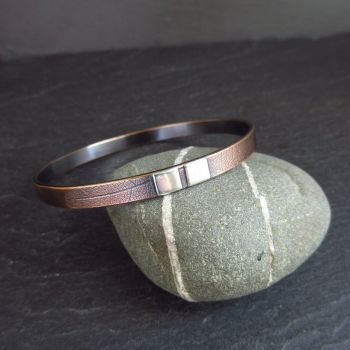 Bronze Bangle with Sterling Silver Squares