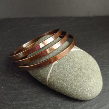 Hammered Copper Bangles - Flat