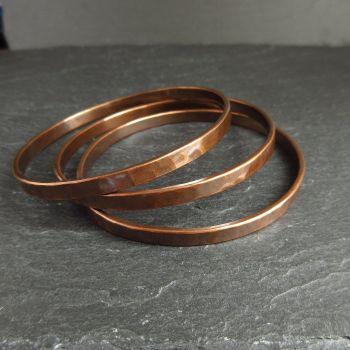 Hammered Copper Bangles - Flat