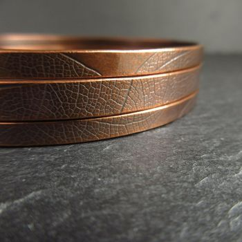 Copper Bangles with Leaf Vein Texture