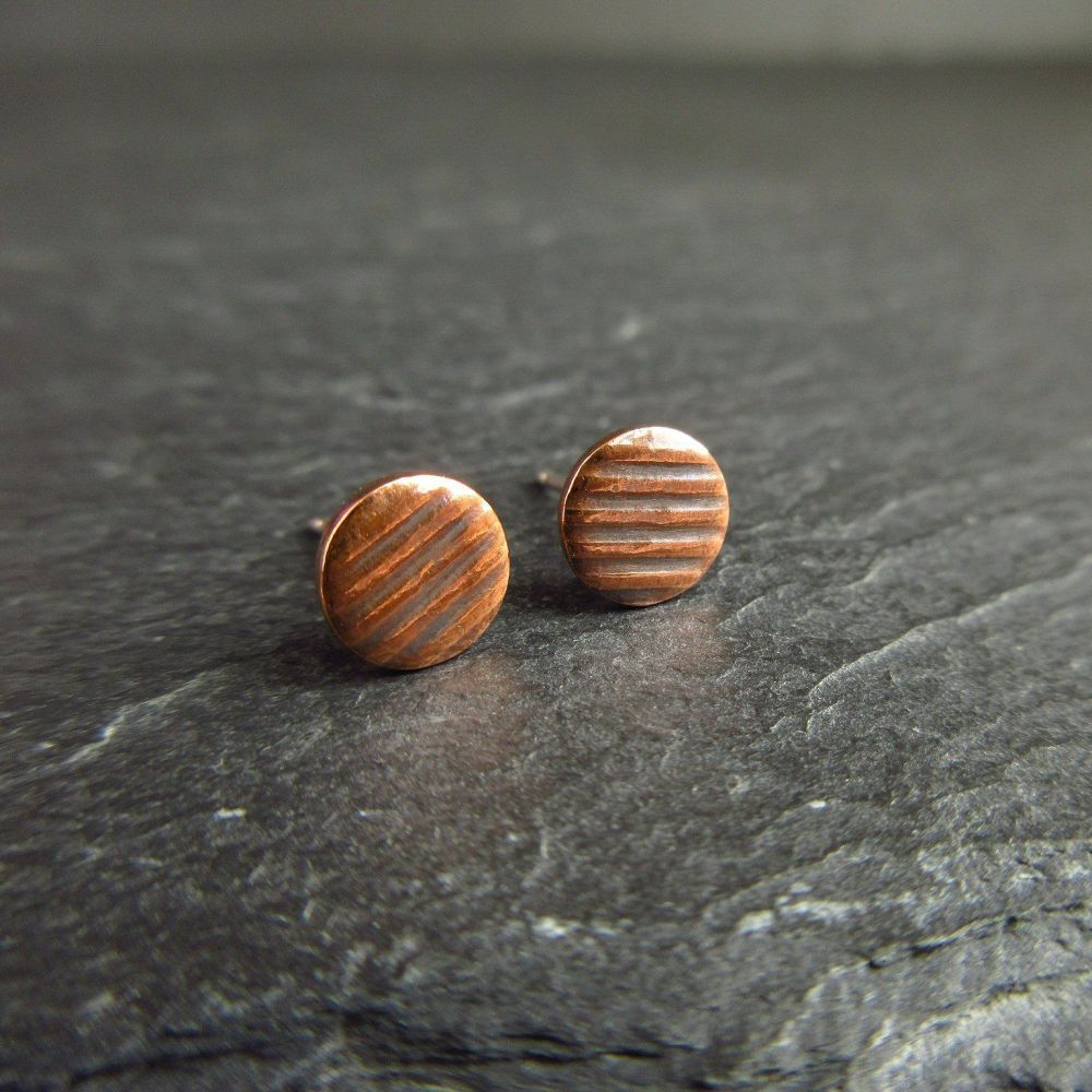 Copper Stud Earrings with Stripe Pattern