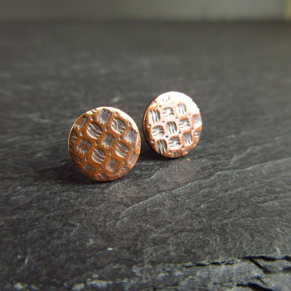 Small Copper Stud Earrings with Embossed Pattern