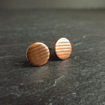 Copper Stud Earrings with Stripe Pattern 8mm