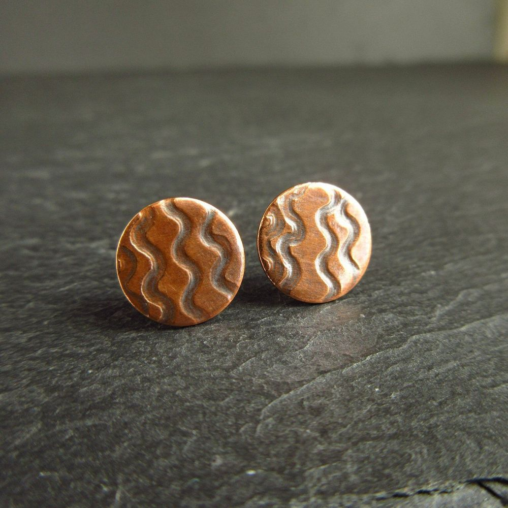 Small Copper Stud Earrings with Wavy Line Design