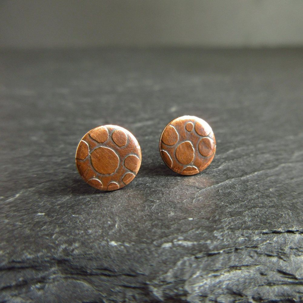 Copper Stud Earrings with Spot Pattern {A}