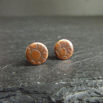 Copper Stud Earrings with Spot Pattern {A}