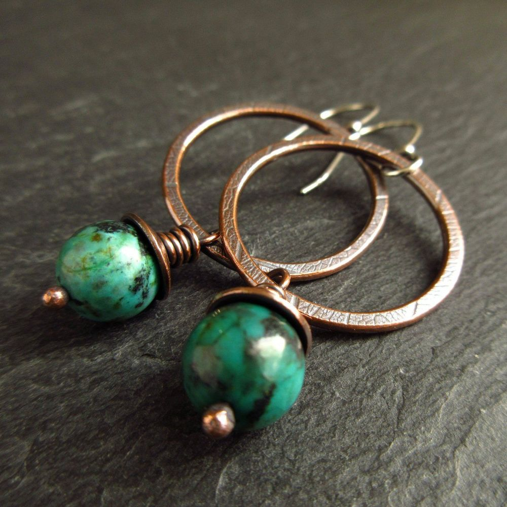 Copper Hoop Earrings with Turquoise Jasper Bead