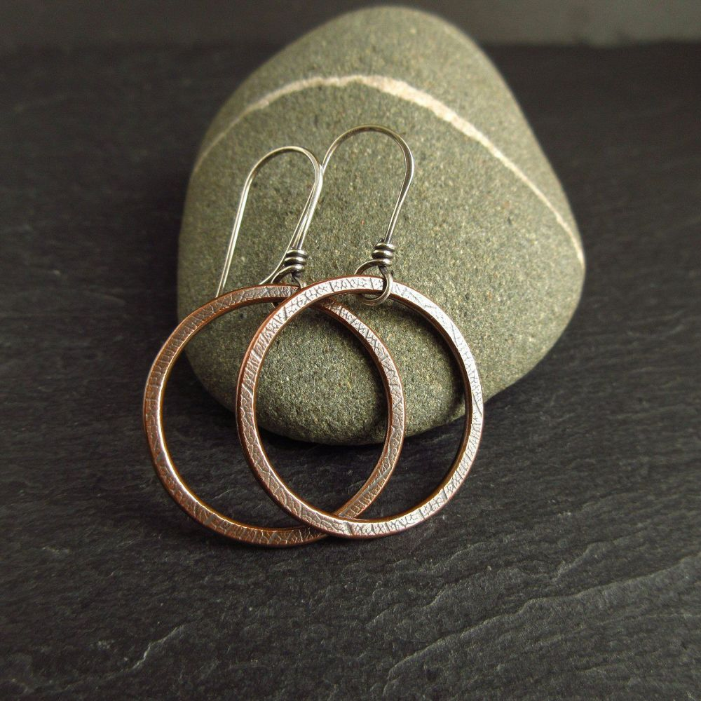 Copper Hoop Earrings with Leaf Vein Texture