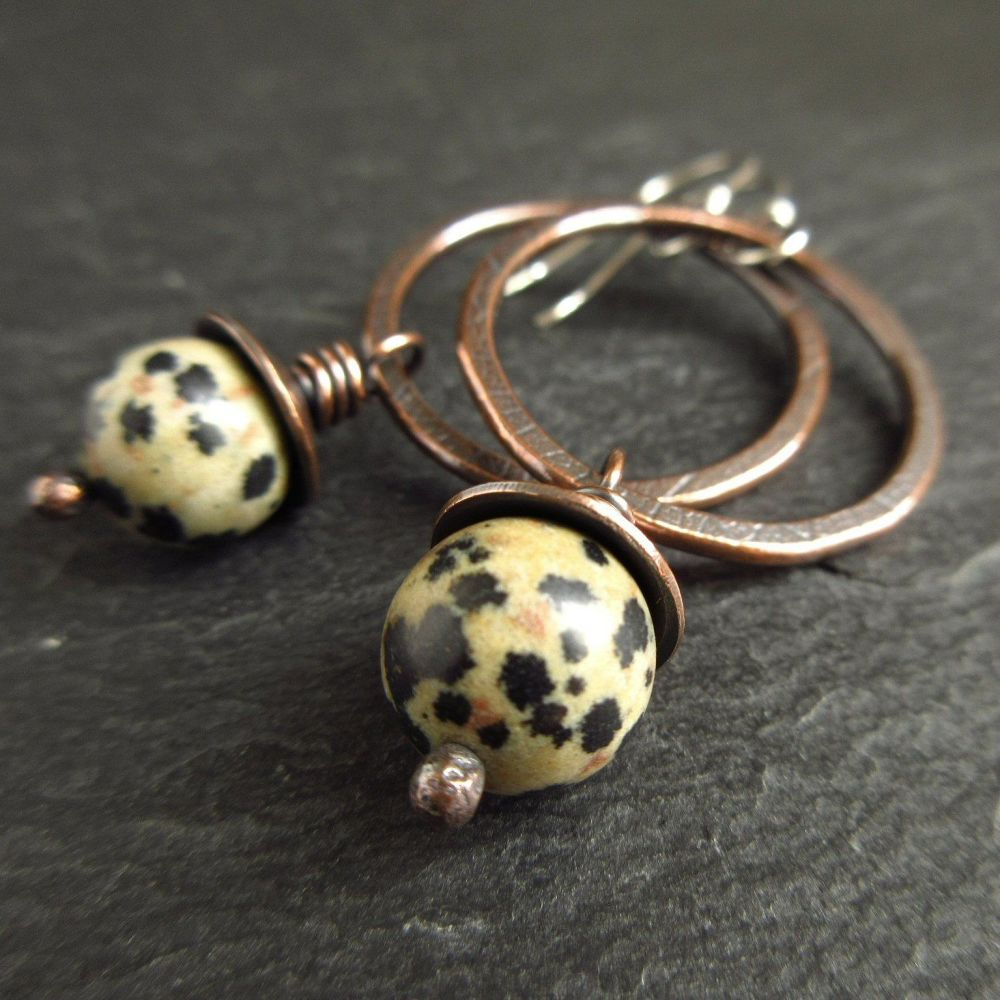 Copper Hoop Earrings with Dalmation Jasper Bead