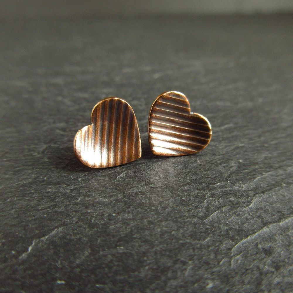 Bronze Heart Earrings with Stripe Pattern