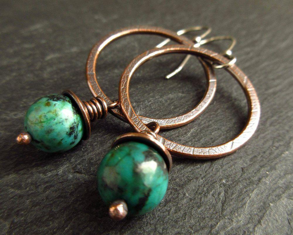 copper and turquoise jasper hoop earrings
