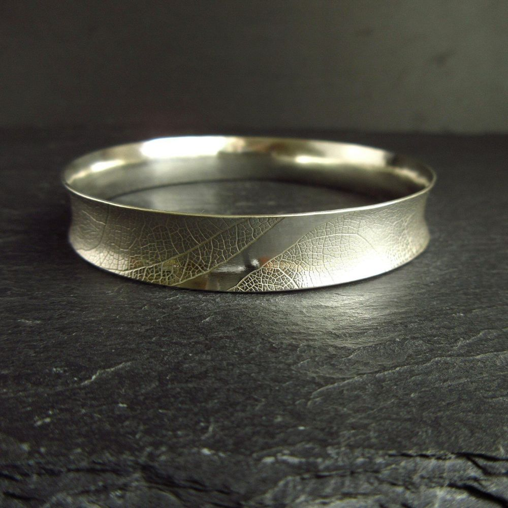 Curved Sterling Silver Bangle with Leaf Vein Texture