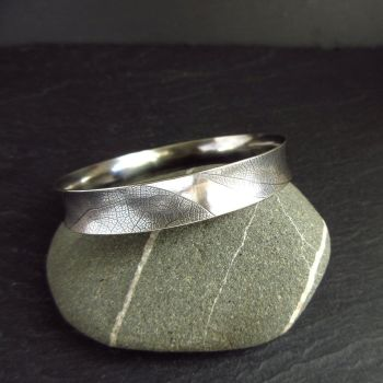 Oxidized Sterling Silver Bangle with Leaf Vein Texture