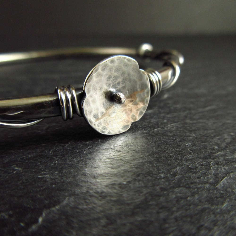 Sterling Silver Bangle with Poppy - Oxidized Finish