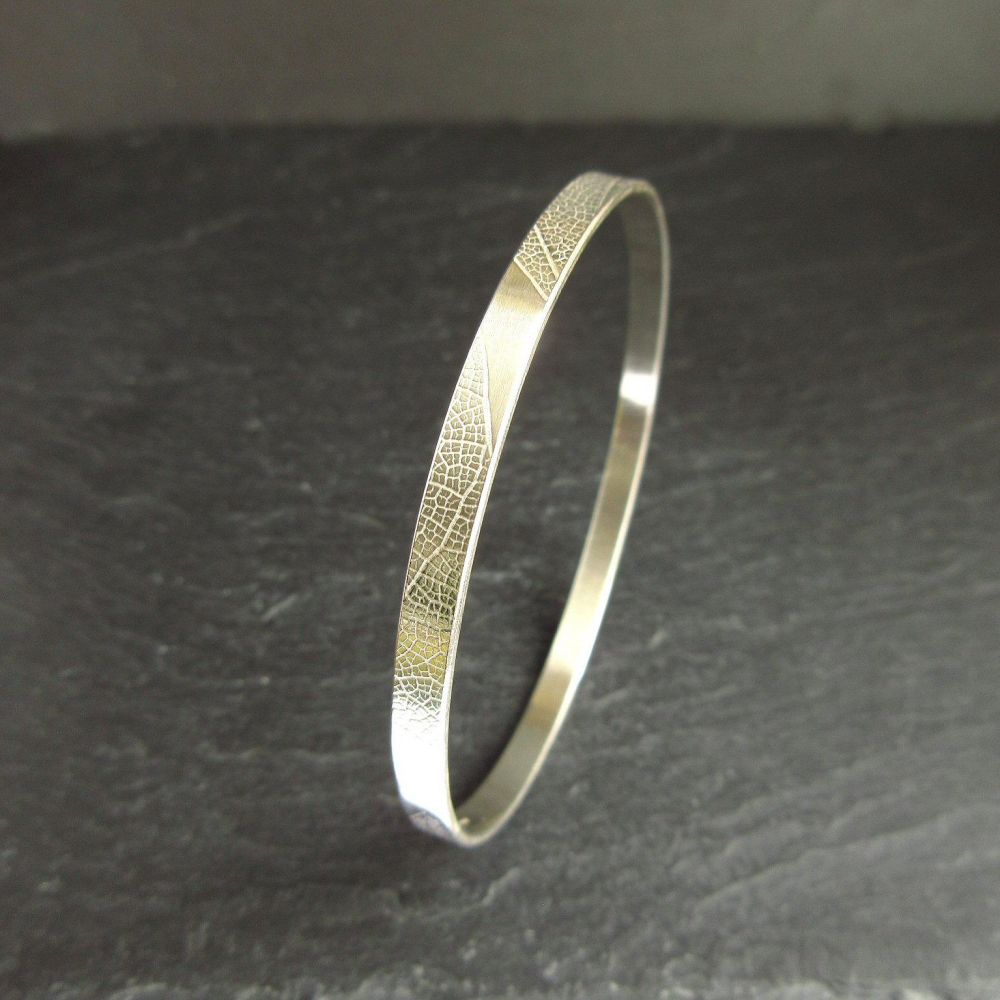 Sterling Silver Bangle with Leaf Vein Texture - Large