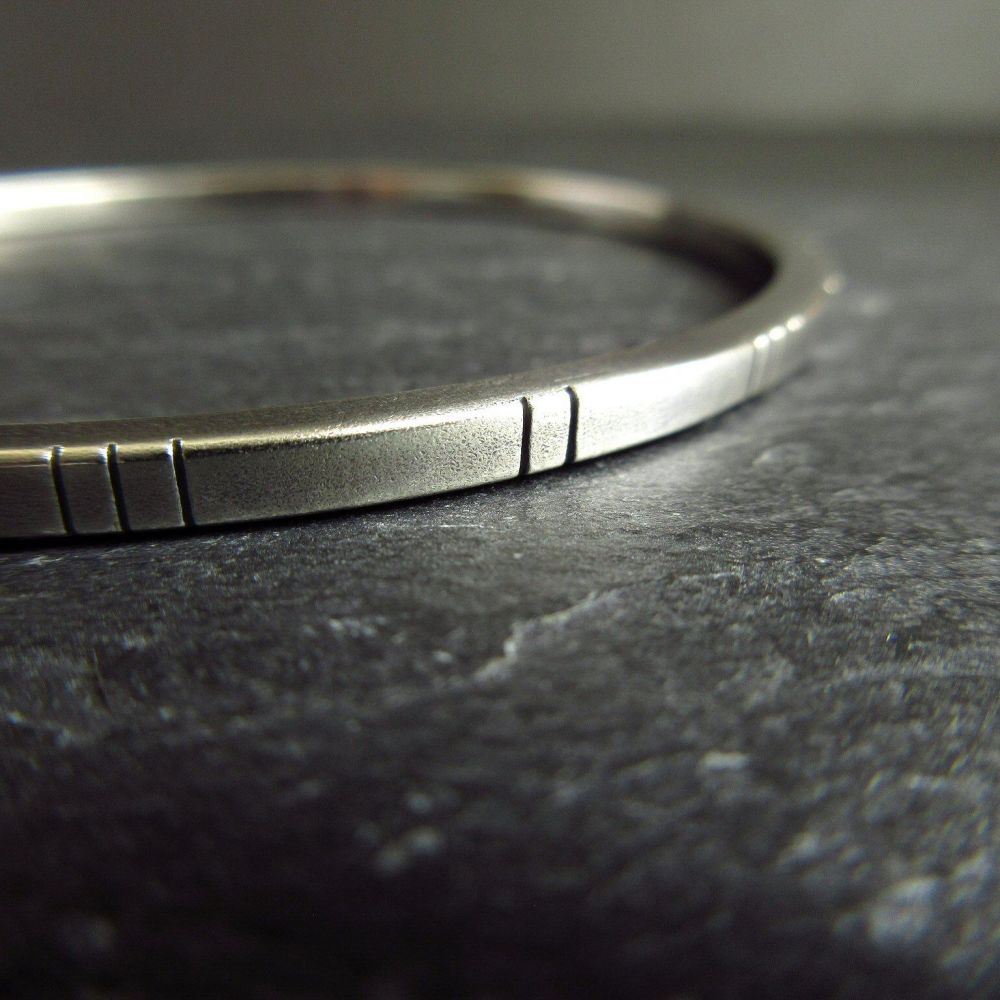Sterling Silver Square Wire Bangle with Line Decoration