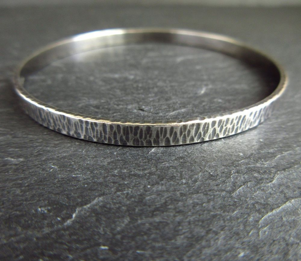 Sterling Silver Bangle - Hammered Bark Texture