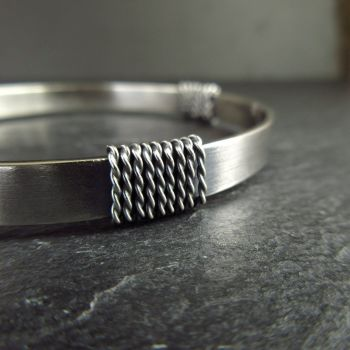 Sterling Silver Bangle with Twisted Coils