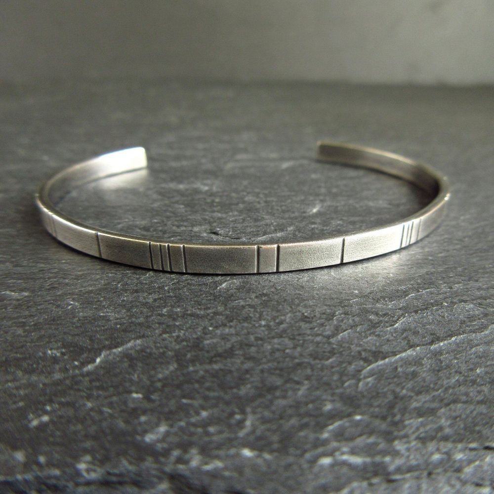 Sterling Silver Cuff Bracelet with Line Pattern
