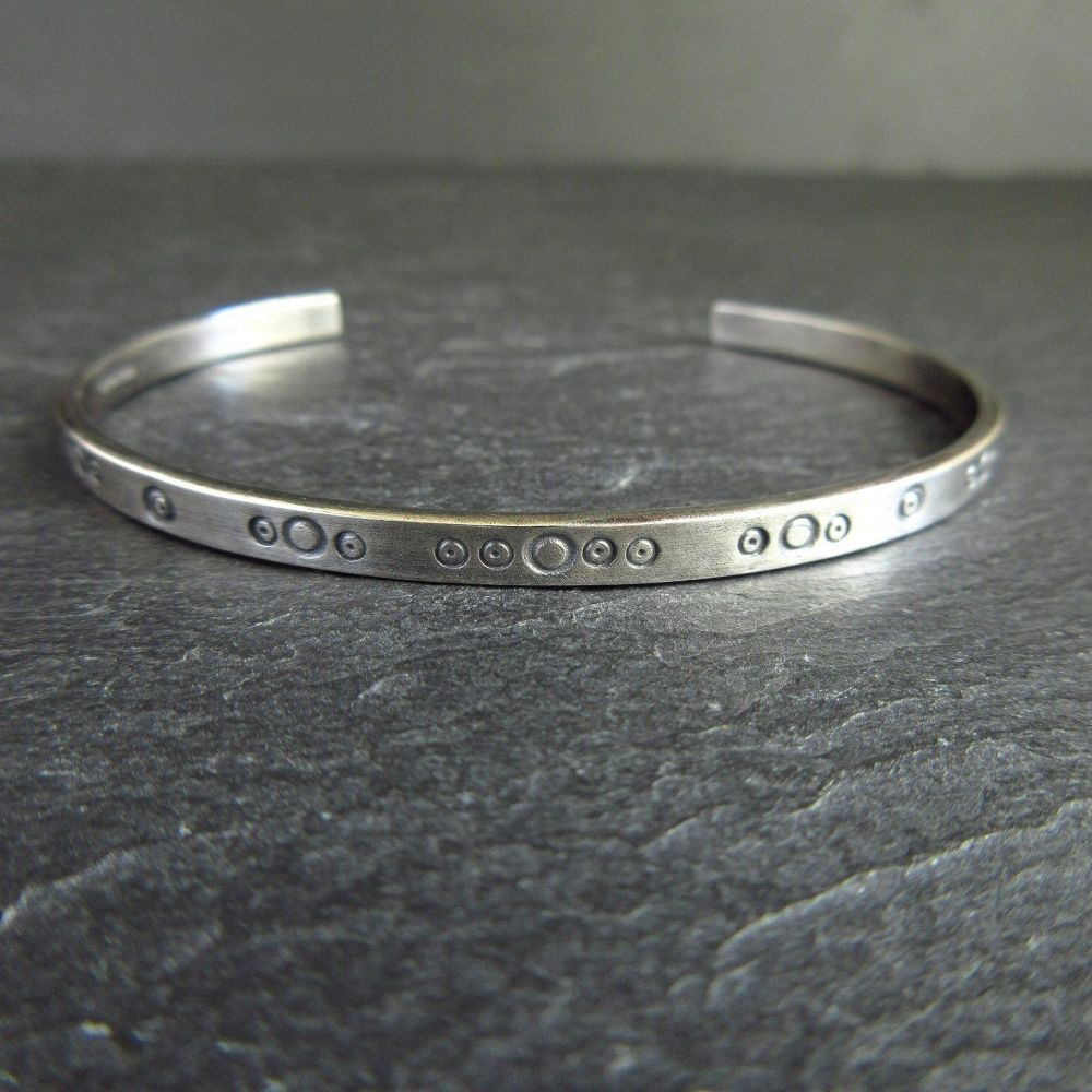Sterling Silver Cuff Bracelet with Circle Design