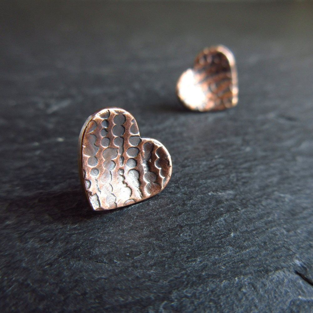 Bronze Heart Earrings with Bubble Pattern