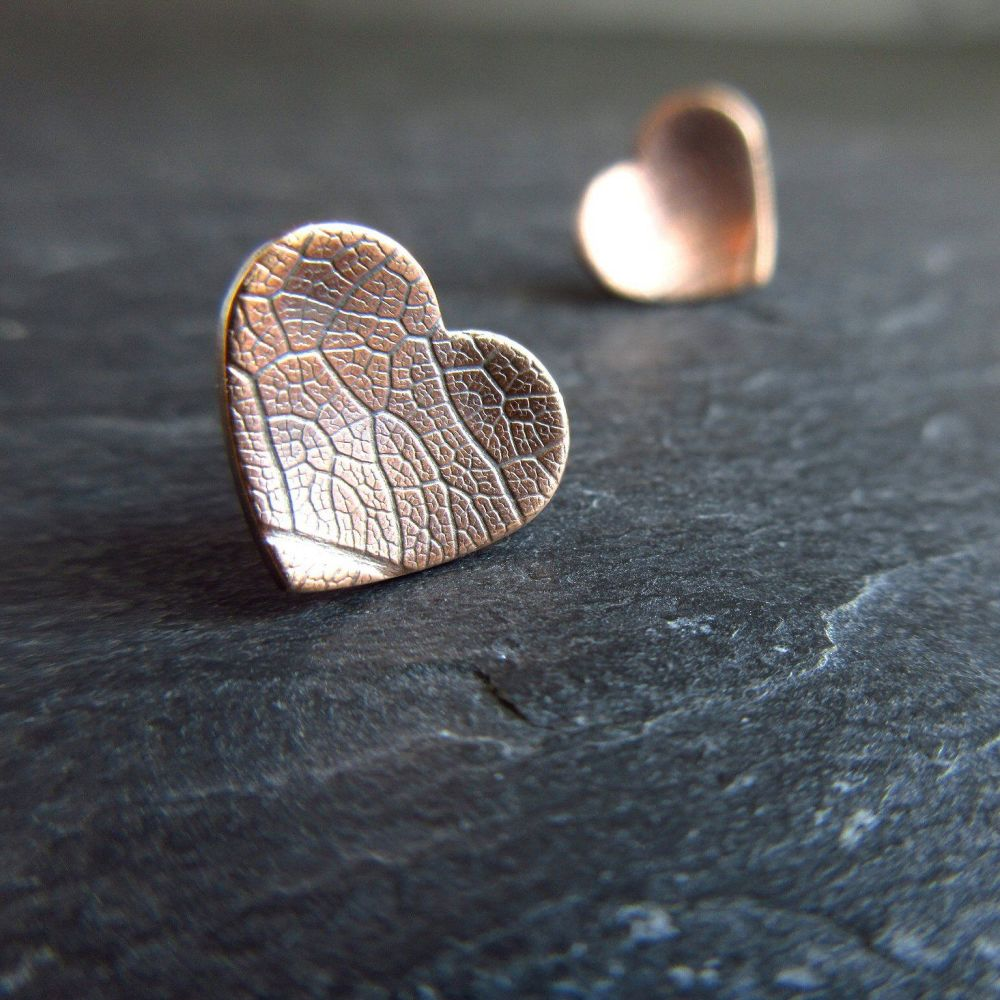 Bronze Heart Earrings with Leaf Vein Texture