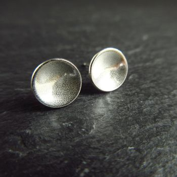 Simple Sterling Silver Bowl Studs with Frosted Texture