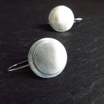 Sterling Silver Double Disc Earrings with Frosted Texture