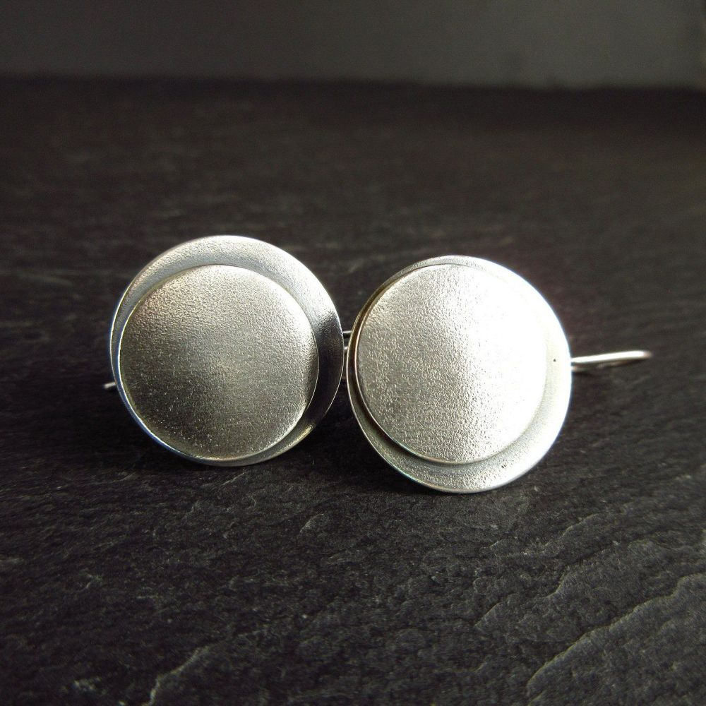 Oxidized Sterling Silver Double Disc Earrings with Frosted Texture