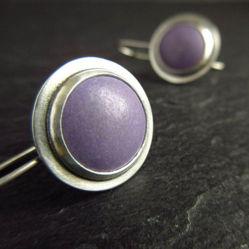 Purple Enamel Sterling Silver Earrings