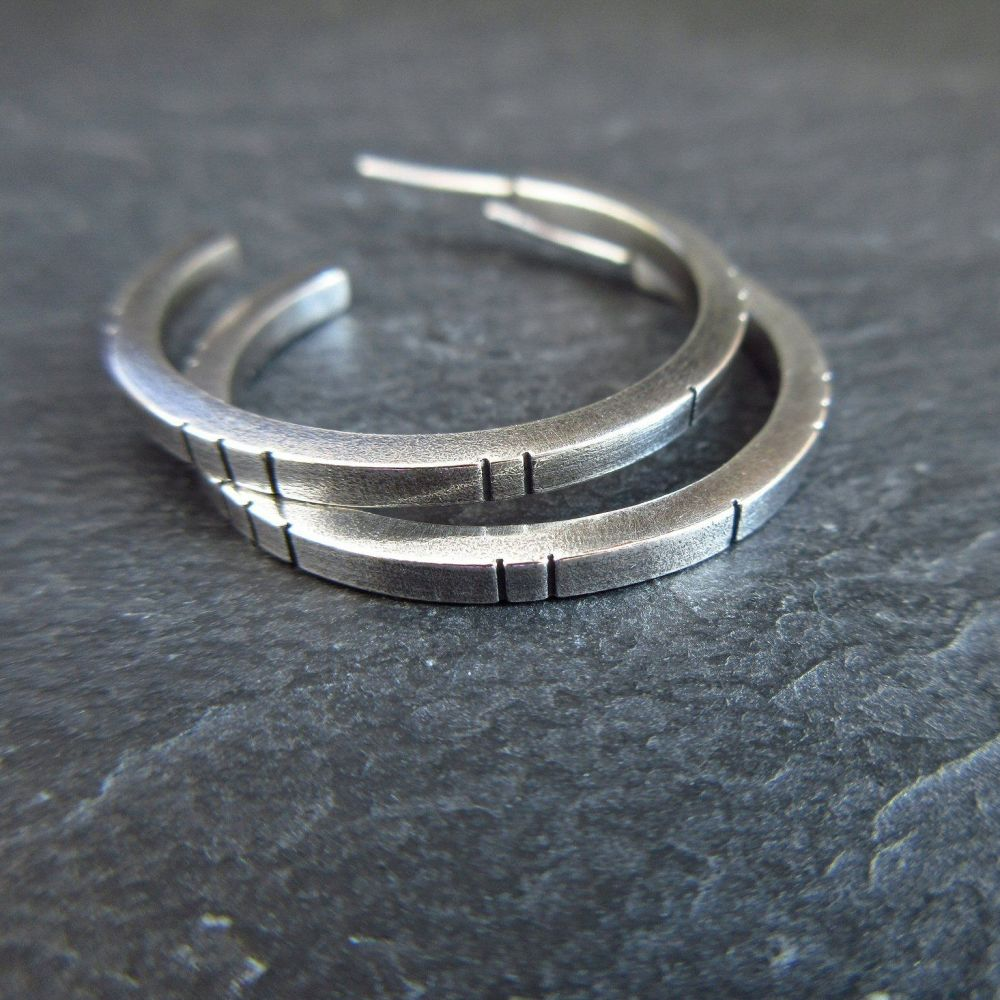 Sterling Silver Hoop Earrings with Square Wire - Line Pattern
