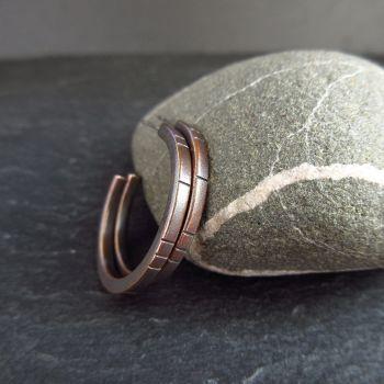 Bronze Hoop Earrings with Line Design