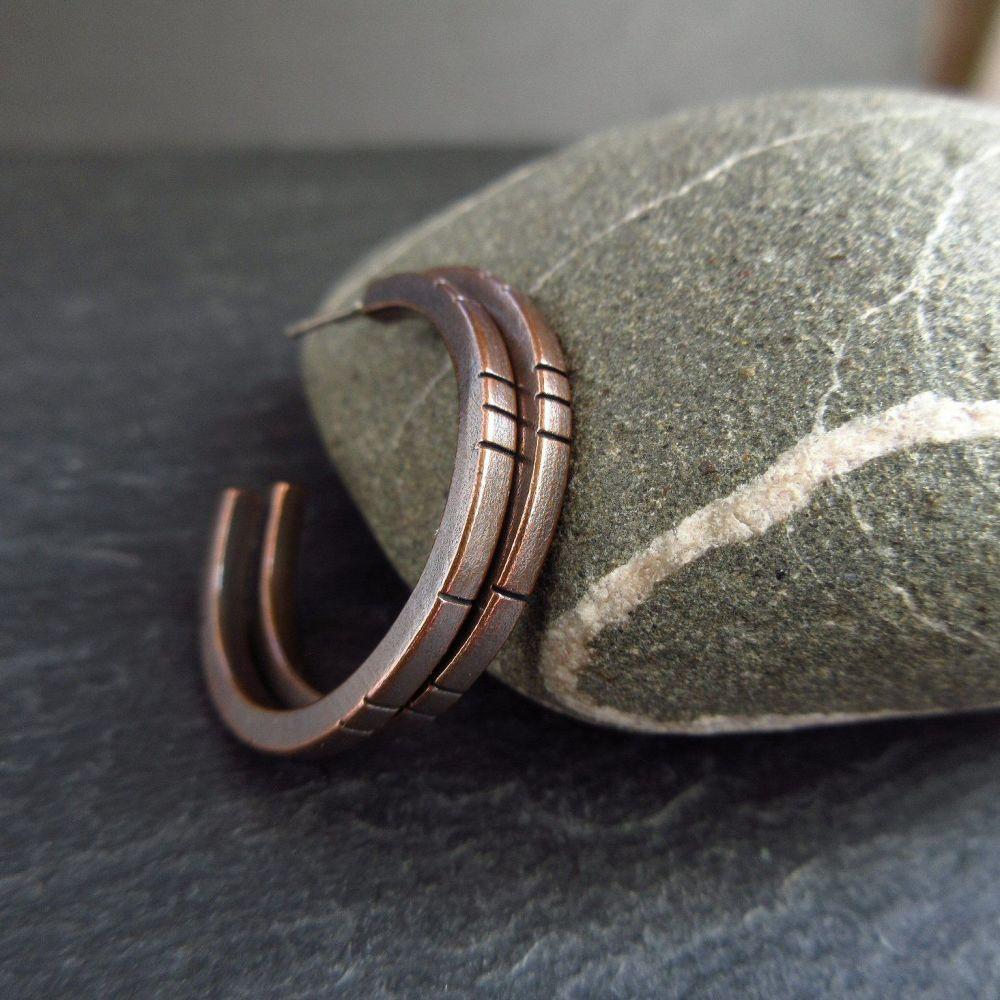 Copper Hoop Earrings With Line Pattern