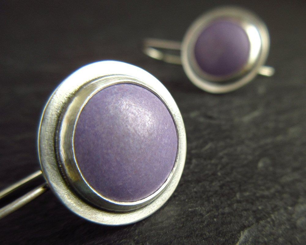 purple enamel cabochon earrings