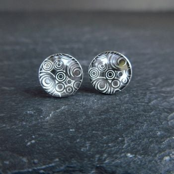 Sterling Silver Stud Earrings with Circles Pattern