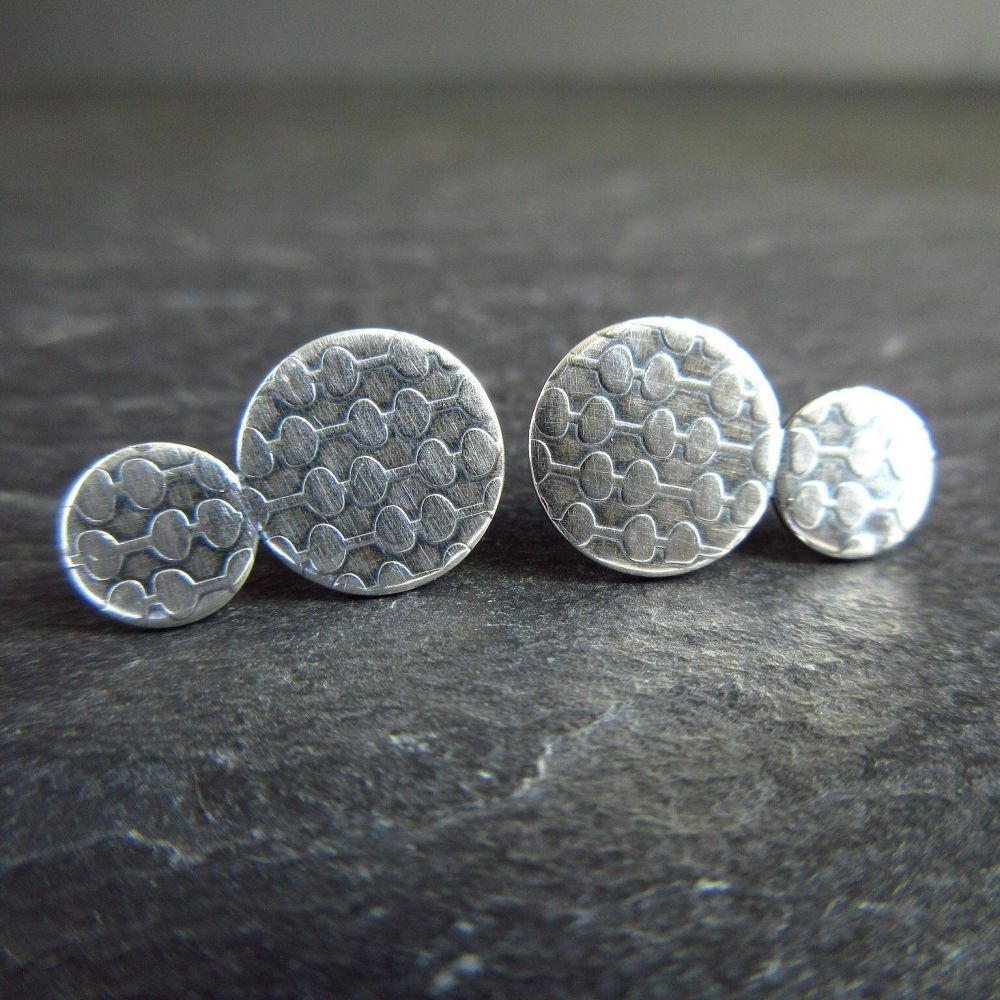 Double Disc Sterling Silver Studs with Organic Stem Pattern - Oxidized